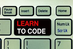 Conceptual hand writing showing Learn To Code. Business photo text Learn to write Software Be a Computer Programmer Coder.  royalty free stock photography