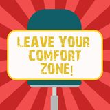 Conceptual hand writing showing Leave Your Comfort Zone. Business photo showcasing Make changes evolve grow take new opportunities. Blank Rectangular Shape stock illustration
