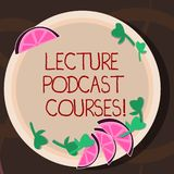 Conceptual hand writing showing Lecture Podcast Courses. Business photo showcasing the online distribution of recorded. Lecture material Cutouts of Sliced Lime royalty free illustration