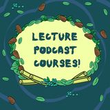 Conceptual hand writing showing Lecture Podcast Courses. Business photo text the online distribution of recorded lecture. Material Wreath Made of Different stock illustration