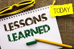 Conceptual hand writing showing Lessons Learned. Business photo showcasing Experiences that should be taken into account in the fu. Ture written Notebooke Book Royalty Free Stock Image