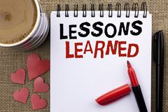 Conceptual hand writing showing Lessons Learned. Business photo showcasing Experiences that should be taken into account in the fu. Ture written Notebook Book Royalty Free Stock Photo