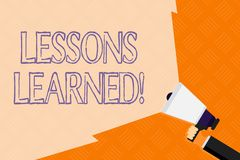 Conceptual hand writing showing Lessons Learned. Business photo text experiences distilled project that should actively royalty free stock photo