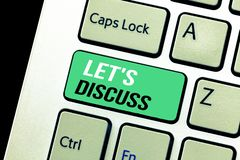 Conceptual hand writing showing Let s is Discuss. Business photo text Permit to Talk Open Up Go Over a Topic Chat Sharing royalty free stock photography