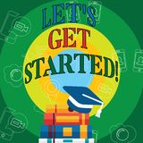 Conceptual hand writing showing Let S Get Started. Business photo text beginning time motivational quote Inspiration. Encourage vector illustration