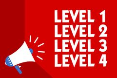 Conceptual hand writing showing Level 1 Level 2 Level 3 Level 4. Business photo showcasing Steps levels of a process work flow Meg. Aphone red background royalty free illustration
