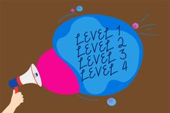 Conceptual hand writing showing Level 1 Level 2 Level 3 Level 4. Business photo text Steps levels of a process work flow Man holdi. Ng Megaphone loudspeaker vector illustration