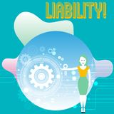 Conceptual hand writing showing Liability. Business photo text State of being legally responsible for something. Conceptual hand writing showing Liability vector illustration