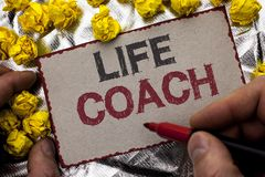 Conceptual hand writing showing Life Coach. Business photo showcasing Mentoring Guiding Career Guidance Encourage Trainer Mentor w. Ritten by Man Holding Marker Stock Photos