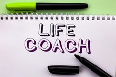 Conceptual hand writing showing Life Coach. Business photo showcasing Mentoring Guiding Career Guidance Encourage Trainer Mentor w. Ritten Notebook Book the Stock Images