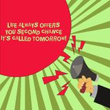 Conceptual hand writing showing Life Always Offers You Second Chance It S Called Tomorrow. Business photo text More. Opportunities Male Hu analysis Hand Holding vector illustration