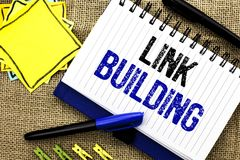 Conceptual hand writing showing Link Building. Business photo showcasing Process of acquiring hyperlinks from other websites Conne. Ction written Notebook Book Royalty Free Stock Photo