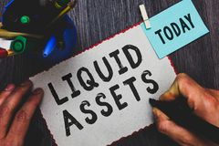 Conceptual hand writing showing Liquid Assets. Business photo text Cash and Bank Balances Market Liquidity Deferred Stock Man hold. Ing marker paper clothespin royalty free stock photos