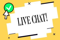 Conceptual hand writing showing Live Chat. Business photo text Conversation on the internet Multimedia mobile vector illustration