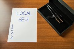 Conceptual hand writing showing Local Seo. Business photo showcasing incredibly effective way to market your near. Conceptual hand writing showing Local Seo royalty free stock photo