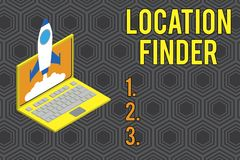 Conceptual hand writing showing Location Finder. Business photo text A service featured to find the address of a. Conceptual hand writing showing Location Finder stock illustration