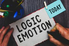 Conceptual hand writing showing Logic Emotion. Business photo text Unpleasant Feelings turned to Self Respect Reasonable Mind Man stock photo