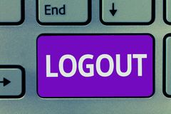 Conceptual hand writing showing Logout. Business photo text go through procedures to conclude use of computer database. Or system stock images