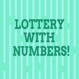 Conceptual hand writing showing Lottery With Numbers. Business photo text game of chance in which showing buy numbered. Tickets Vertical Thin Linear Strip royalty free illustration