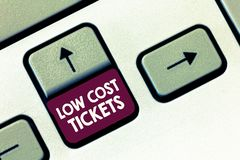 Conceptual hand writing showing Low Cost Tickets. Business photo text small paper bought to provide access to service or show.  royalty free stock photos