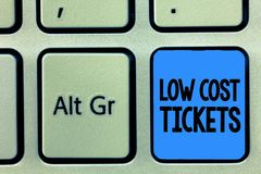 Conceptual hand writing showing Low Cost Tickets. Business photo text small paper bought to provide access to service or show.  royalty free stock photo