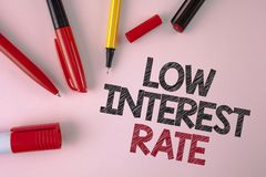 Conceptual hand writing showing Low Interest Rate. Business photo text Manage money wisely pay lesser rates save higher written on. Conceptual hand writing royalty free stock photography