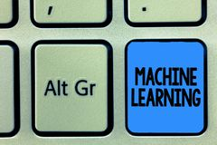 Conceptual hand writing showing Machine Learning. Business photo text give computers the ability to be taught with data.  royalty free stock image