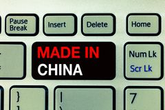 Conceptual hand writing showing Made In China. Business photo text Wholesale Industry Marketplace Global Trade Asian Commerce.  royalty free stock photo