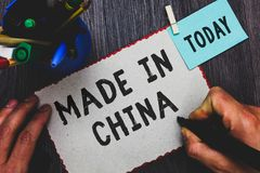 Conceptual hand writing showing Made In China. Business photo text Wholesale Industry Marketplace Global Trade Asian Commerce Man. Holding marker paper stock photos