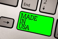 Conceptual hand writing showing Made In Usa. Business photo showcasing American brand United States Manufactured Local product Key. Board green key computer stock illustration
