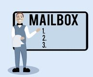 Conceptual hand writing showing Mailbox. Business photo text Box mounted on post where mail is delivered Computer file. For email royalty free illustration