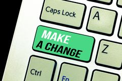Conceptual hand writing showing Make A Change. Business photo text Create a Difference Alteration Have an Effect Metamorphose.  royalty free stock photo