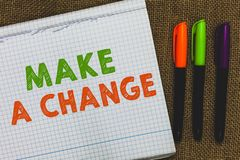 Conceptual hand writing showing Make A Change. Business photo text Create a Difference Alteration Have an Effect Metamorphose Open. Notebook jute background royalty free stock photo