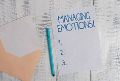 Conceptual hand writing showing Managing Emotions. Business photo showcasing ability be open to feelings and modulate. Conceptual hand writing showing Managing royalty free stock photo