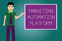 Conceptual hand writing showing Marketing Automation Platform. Business photo showcasing automate repetitive task. Related to marketing Man with Tie Talking vector illustration