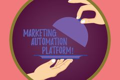Conceptual hand writing showing Marketing Automation Platform. Business photo showcasing automate repetitive task. Related to marketing Hu analysis Hands stock illustration
