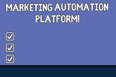 Conceptual hand writing showing Marketing Automation Platform. Business photo text automate repetitive task related to marketing. Color Rectangular Shape with vector illustration