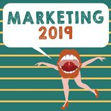 Conceptual hand writing showing Marketing 2019. Business photo showcasing Commercial trends for 2019 New Year promotional event.  vector illustration