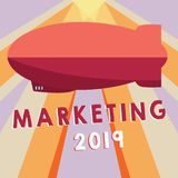 Conceptual hand writing showing Marketing 2019. Business photo showcasing Commercial trends for 2019 New Year promotional event.  royalty free illustration