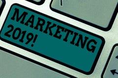 Conceptual hand writing showing Marketing 2019. Business photo showcasing New Year Market Strategies Fresh start Advertising Ideas. Keyboard key Intention to stock photo