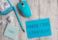 Conceptual hand writing showing Marketing Strategy. Business photo showcasing Scheme on How to Lay out Products Services. Conceptual hand writing showing royalty free stock images
