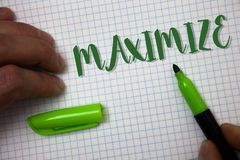 Conceptual hand writing showing Maximize. Business photo text Increase to the greatest possible amount or degree Make larger Box b. Ackground pen cap marker royalty free stock photos