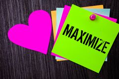 Conceptual hand writing showing Maximize. Business photo text Increase to the greatest possible amount or degree Make larger Pinne. D multi colour cards heart stock photo