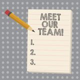 Conceptual hand writing showing Meet Our Team. Business photo showcasing Presentation of a teamwork Meeting with group. Of showing stock illustration