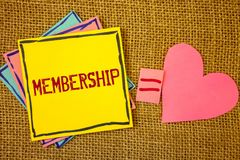 Conceptual hand writing showing Membership. Business photos text Being member Part of a group or team Join an organizationIdeas cr. Conceptual hand writing royalty free stock photography