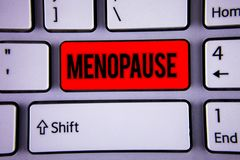 Conceptual hand writing showing Menopause. Business photo text Cessation of menstruation Older women hormonal changes period Keybo royalty free stock photo