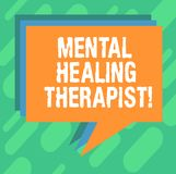 Conceptual hand writing showing Mental Healing Therapist. Business photo showcasing Counseling or treating clients with. Mental disorder Stack of Speech Bubble stock illustration