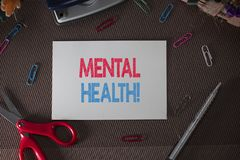Conceptual hand writing showing Mental Health. Business photo text demonstratings condition regard to their. Conceptual hand writing showing Mental Health stock photo