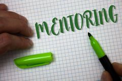 Conceptual hand writing showing Mentoring. Business photo text To give advice or support to a younger less experienced person Box. Background pen cap marker stock photo