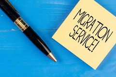 Conceptual hand writing showing Migration Service. Business photo text moving of company data to a cloud service. Conceptual hand writing showing Migration royalty free stock image